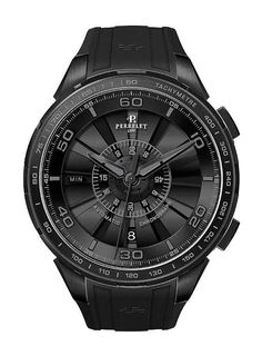 "Perrelet Turbine Chrono: ""all-black"" model with DLC coated case and black turbine, under-dial and numerals"
