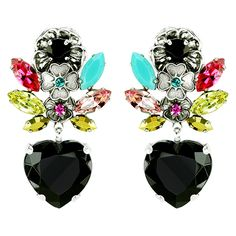 REMINISCENCE | Clips Earrings In Silver Metal, Embellished With Flowers, Marquise And Round Multicoloured Crystals Ending With Black Heart Crystal.