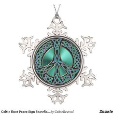 Celtic Knot Peace Sign Snowflake #Christmas #Ornament  #Peace #Celtic