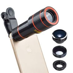 Apexel Professional Optical Phone Camera Lens 12X Telephoto Lens Fisheye/Wide/Macro lens for iPhone 7  6/6s plus and Samsung Galaxy S7/S7 Edge and most Android Smartphone