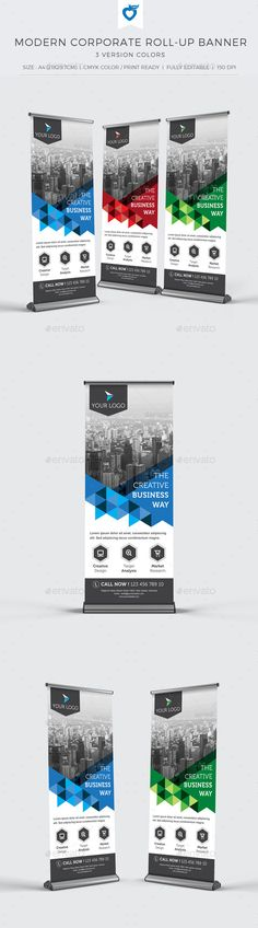 Buy Modern Corporate Roll-up Banner by LeafLove on GraphicRiver. Modern corporate roll-up banner template. This layout is suitable for any project purpose. Very easy to use and custo. Banner Template, Banner Vector, Booth Design, Flyer Design, Stand Design, Rollup Banner Design, Standing Banner Design, Roll Up Design, Event Signage