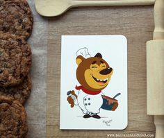 Bear baker greeting card by #TerrapinAndToad. A fun, brightly coloured cartoon bear greeting card. Ideal to send to your chef and baker friends or anyone who loves food.