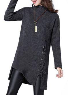Long Sleeve Asymmetric Hem Lace Up Design Sweater