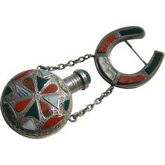 Antique Perfume Bottle Pin - Sterling Silver & Scottish Agate - Birmingham English Hallmarks