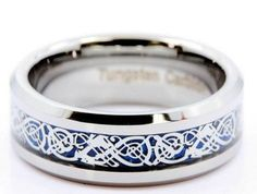Tungsten Carbide blue celtic ring. This is probably one of our most popular celtic rings.
