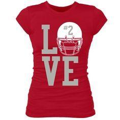 Love Football w/ Helmet: Custom Junior Fit Bella Sheer Longer Length Rib T-Shirt - Customized Girl