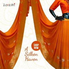 Make a statement with Zoyashi's Saffron Silk Saree and #RockThisLookWithZoyashi #Saffron #RockThisLookWithZoyashi #SilkSari #HandmadeWithLove #MadeInIndia #DrapeTheSixYards #Elegance #SuitUp