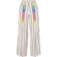 All Things Mochi Andrea embroidered striped linen wide-leg pants (6.165 CZK) ❤ liked on Polyvore featuring pants, white, wide leg linen pants, striped trousers, striped wide leg pants, rainbow pants and striped wide leg trousers