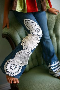 Ideas.. Doily Embellished Jeans.. No patterns..
