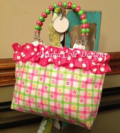 Hot Pink and Lime Plaid Purse with Pink Polka by mishacoledesigns, $10.00