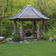 Glamorous Gazebo Canopy technique New York Rustic Patio Inspiration with flagstone path grass lawn log posts low garden wall outdoor fire pit outdoor seating Gazebo Plans, Backyard Gazebo, Garden Gazebo, Gazebo Ideas, Gazebo Canopy, Screened Gazebo, Pergola Kits, Gazebo Curtains, Cheap Pergola