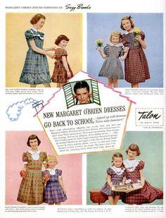 0 margaret o'brien for talon dresses ad Retro Ads, Vintage Ads, Vintage Prints, Vintage Sewing, Vintage Clothing, Vintage Girls Dresses, Vintage Outfits, Vintage Fashion, 1940s Fashion