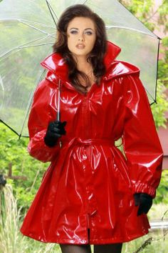 Red pvc coat  clear umbrella