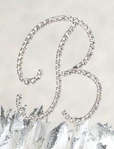 love letters crystal letter b monogram wedding cake topper