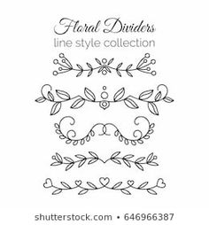 line art Flourishes. Line style decoration. Ornamental decorative elements for notes and bullet journal. Line art flowers. Bullet Journal Décoration, Bullet Journal Dividers, Draw Dividers, Line Art Flowers, Flower Art Drawing, Decorative Lines, Journal Fonts, Journal Design, Bullet Journal Inspiration