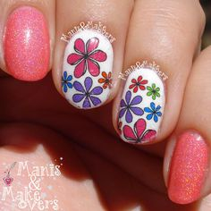 Girly floral NailThins http://manisandmakeovers.blogspot.com/2014/08/girly-floral-nailthins.html