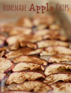 Homemade Apple Chips recipe. This is an easy, frugal, healthy and fun snack idea for the whole family. Sugar-free, yet naturally sweet!