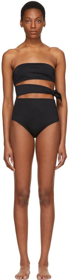 Proenza Schouler - Black Bandeau Side Tie Swimsuit