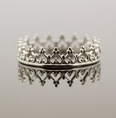 Sterling Silver crown ring. Dainty princess crown ring. Silver princess tiara.  Sweet 16 birthday present, or gift for 21st. Heart ring. $32.00, via Etsy.