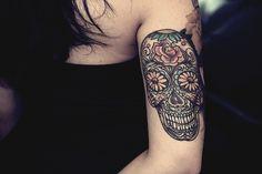 Dia de los muertos tattoo  Kinda want.