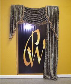 Fremont  #singlewindow #fabric #crushedvelvet #olive #fringe #multicolor #singlebead #windows #drapery #design #DIY #pampered #fabric #home #decor #homedecor #windowtreatment #treatment #curtains #swags #simple #sexy #elegant #custom