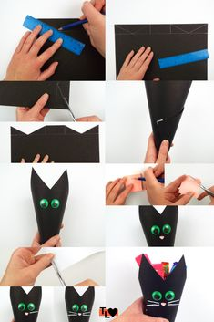 Add some spook to your sweets this Halloween by making this cat sweet cone! Sweet Cones, Diys, Sweets, Craft Ideas, Cat, Halloween, Bricolage, Gummi Candy, Candy