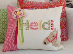HORSE APPLIQUE CUSHION
