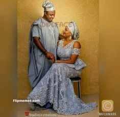 Beautiful Couples Attire – Fashion and Style – Flipmemes African Lace Styles, African Dresses For Women, African Fashion Dresses, African Wedding Attire, African Attire For Men, African Weddings, Nigerian Traditional Wedding, Traditional Wedding Attire, Agbada Styles