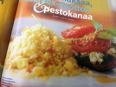 Broileri hunnutetaan pestolla ja tuorejuustolla, couscousissa maistuu paahdettu seesami.