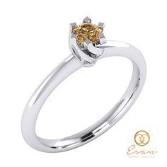 Inel de logodna din aur cu diamant maro (brown) ES1 Aur, Engagement Rings, Jewelry, Enagement Rings, Wedding Rings, Jewlery, Jewerly, Schmuck, Jewels