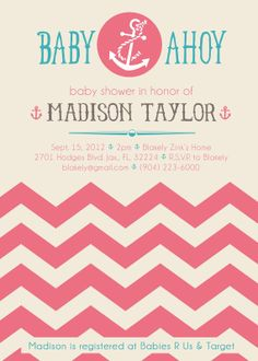 Printable Nautical Baby Shower Invitation  Baby by SummerRaine, $15.00