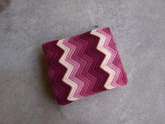 Vintage Afghan Blanket Wool Plum Pink Cream by QUIVERreclaimed