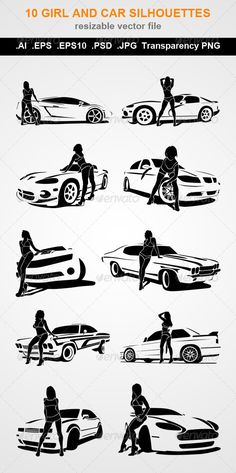 Buy 10 Girl and Car Silhouettes by CGSART on GraphicRiver. 10 Girl and Car black silhouettes Vector) AI file (layered file) EPS file ( file / layered file) 10 . Car Silhouette, Black Silhouette, Picture Poses, Photo Poses, Auto Union 1000, Wiking Autos, Models Men, Car Poses, Girl Photo Shoots
