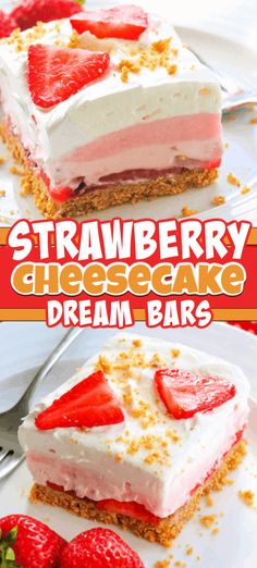 Strawberry Cheesecake Dream Bars - a graham cracker crust, fresh strawberries, acreamy strawberry cheese layer, strawberry creme pudding, topped with whipped topping. These are the perfect dessert to make when strawberries are in season! 13 Desserts, Cheesecake Desserts, Desserts To Make, Homemade Desserts, Sweet Desserts, Delicious Desserts, Cherry Desserts, Pumpkin Cheesecake, Health Desserts