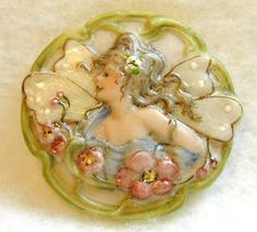 Handcrafted Porcelain Button - Art Nouveau Fairy w/ Wings and Flowers Laurel Rim