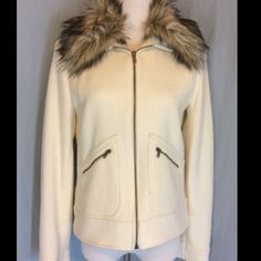 NWT Ralph Lauren Cream Faux Fur Collar Jacket New with tags, no defects. Beautiful jacket. Zip front  and 2 zip pockets. Exterior is Wool and Polyamide blend. Lining is Acetate.  Bust 21 inches flat. Length 22 inches. Ralph Lauren Jackets & Coats