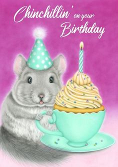 NEW birthday card featuring a happy chinchilla with a vanilla cupcake inside of a teacup Vanilla Cupcakes, Designs To Draw, Colored Pencils, Things That Bounce, Birthday Cards, Whimsical, Sweet Treats, Tea Cups, Bunny