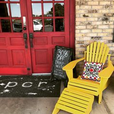 "46 Likes, 1 Comments - Painting Chick's Revival (@paintingchicksrevival) on Instagram: ""Nothing warms up a cold day like yellow chairs, red doors, and sales! 30%off in store today! (Some…"""