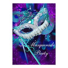 Masquerade Ball Party Teal Blue Purple Masks Custom Announcements from Zizzago.com