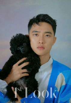 Do Kyungsoo & Park So Dam for Look Magazine Korea, Vol. Kyungsoo with his real pet, black toy poodle, Meokmul.
