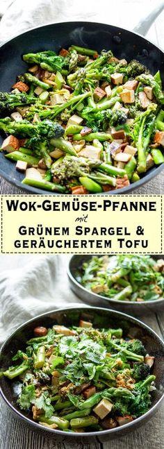 Vegane Asiastische Wok-Gemüse-Pfanne (Stir-Fry) Rezept mit geräuchertem Tofu, Spargel, Spargelkohl, Pilze, Knoblauch, Ingwer, japanischer Reisessig, Soja-Soße und geröstetem Sesamöl, gesunde, einfache Rezepte von Elle Republic