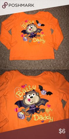 """🦇Batty for Daddy🦇 Orange long sleeved t-shirt with a bat and saying, """"Batty for Daddy."""" jumping bean Shirts & Tops Tees - Long Sleeve"""