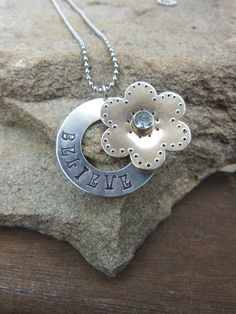 Custom Hand Stamped Daisy Necklace with by NaomisBoutique on Etsy