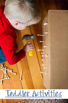 Toddler Activities!  Use an old cardboard box and keep 'em busy! Would you let YOUR toddler do this?