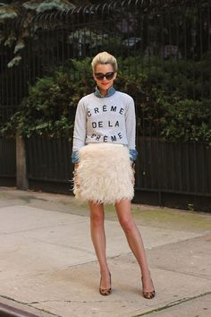 Blair Eadie of Atlantic Pacific Featuring Zoe Karssen Creme de la Creme Sweatshirt ... wish I could pull this off!