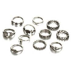 Sun Moon Flower Leaf Finger Ring Set Silver ($2.93) ❤ liked on Polyvore featuring jewelry, rings, silver flower ring, leaf jewelry, flower jewellery, silver jewellery and flower jewelry