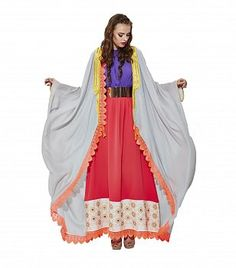 Grey with Orange Lace Traditional Bisht