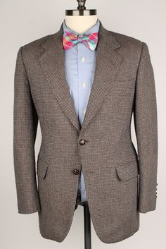 Vtg TWEED Oakton Light Brown Grey Weave Leather by ThePlaidBowTie