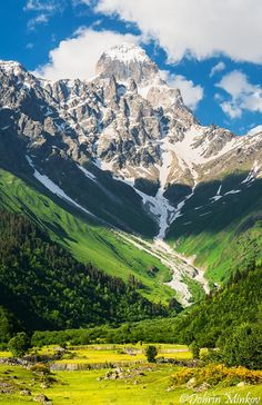 Ushba in the Caucasus Mountains, Svaneti, Georgia by DobriMv