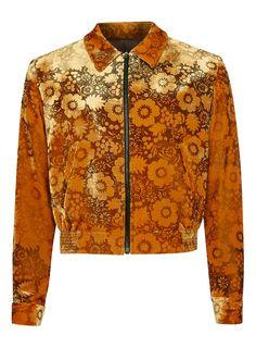 TOPMAN DESIGN Orange Floral Burnout Harrington Jacket